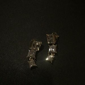3 stone cushion cut simulated diamond with gold